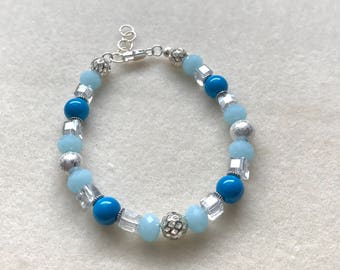 7-8in Blue and silver beaded bracelet