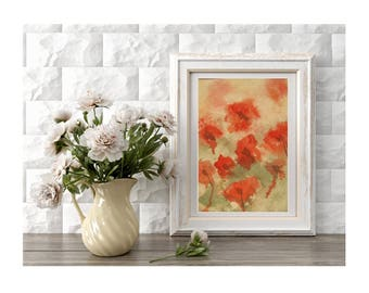 Original Field of Red Poppies Painting of Red Poppies  Abstract Flowers Small Art Home Decor Spring Flowers Gift for Mom