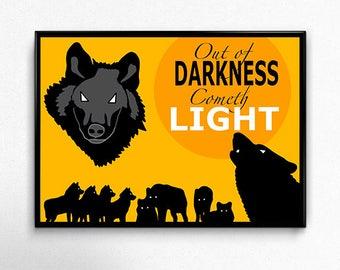 Out of Darkness Cometh Light WWFC Wolves Wolverhampton Wanderers Poster