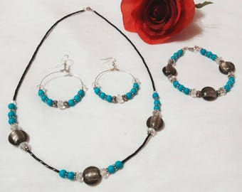 turquoise beaded jewelry set - necklace, earrings, bracelet