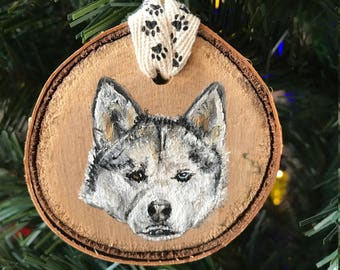 Hand Painted Siberian Husky (With Heterochromia) Ornament