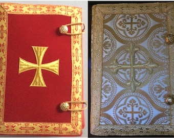 Bible Covers in your choice of Red Velvet or Ecclesiastical Brocade Fabrics