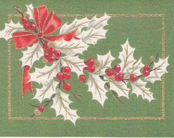 1960s Christmas card -- white holly with red bow and berries on green -- by Carrington