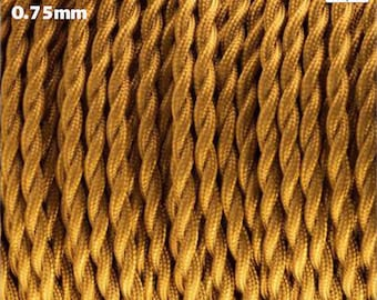 0.75mm Antique TextileTwisted Braided Decorative Deep Gold Cable Vintage Fabric