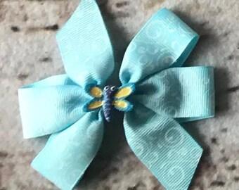 Butterfly Hair Bow; Spring Hair Bow;Blue Hair Bow; Embellished Hair Bow; Summer Hair Bow