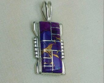 Purple Copper Turquoise Inlaid in Sterling Silver Rectangle Pendant