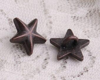 star buttons 10pcs 13*7mm metal copper buttons shank buttons for children garment coat button