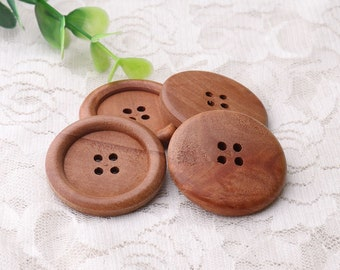 Buttons made for wood 35mm diameter 8pcs 4 holes wooden buttons suitable for women's coat