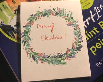 Christmas Card - Merry Christmas Wreath