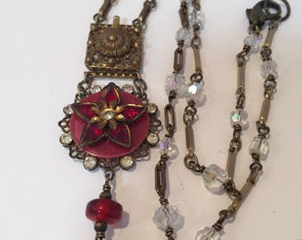Vintage Assemblage Necklace, Antique Jewelry, Upcycled, Repurposed