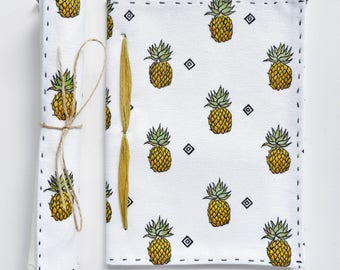 "Premium Hand-painted and Handmade ""Scroll"" Notebook, Journal, Diary, and Gift - Piña: The Pineapple"