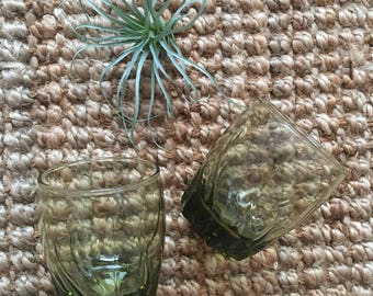 Set of 2 vintage green toned drinking glasses