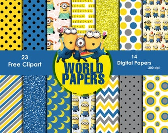 Minions Digital Paper - Digital Scrapbook Papers 12 x 12 inches, 300 dpi quality, Instant download,free cliparts,paper.