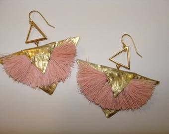 earring with handmade tassels and metall