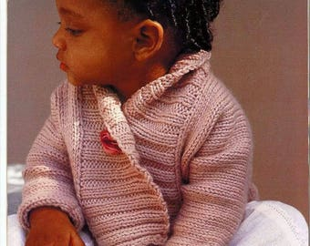 Baby ribbed Jacket vintage knitting pattern -Immediate download