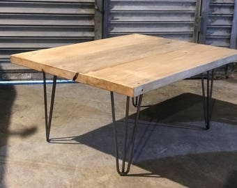 Handmade Scaffold Board Coffee Table with Hairpin Legs