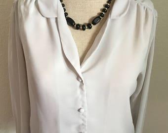 70's Vintage Grey Sheer Blouse