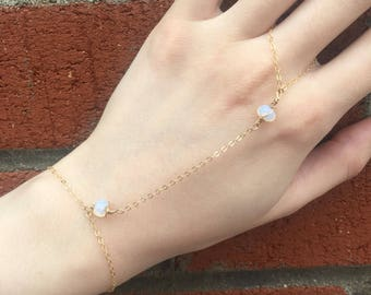 Delicate opalite and gold slave bracelet