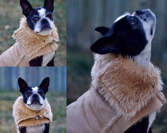 Fur Lined Ultra Suede Dog Coat