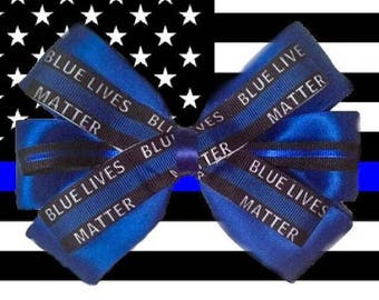Blue Lives Matter Back the Blue Hair Bow