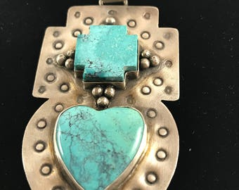 Indian Navajo Sterling Silver Turquoise PendantRachelEllenClassicUS