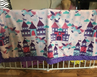 Purple castle bubble minky and fleece blanket