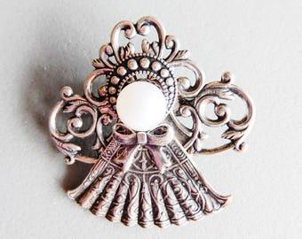 Silver Tone Angel Brooch Pin Pendant w/ Pearl