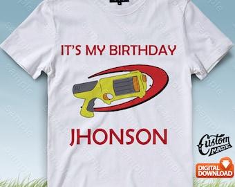 Nerf Iron On Transfer, Nerf Birthday Shirt DIY, Nerf Shirt Designs, Nerf Printable, Nerf, Personalize, Digital Files