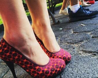 Melanie Rounded Toe Pump | Pink, Orange & Maroon