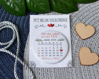 Wedding favor magnets with marked wedding day on calendar Reminder abou your wedding Personalized magnet Thank you gift for wedding guests