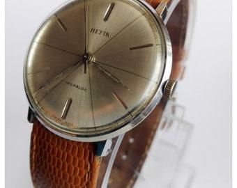 Vintage Swiss made men's watch HEFIK 1960's / Swiss watch / mechanical watch, leather mens watch