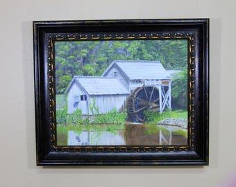 Mabry Mills Original Oil  Grist Mill Blue Ridge Parkway Art Virginia Historical Building Smoky Mountains Appalachian Mountains