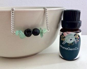 Lava Stone Necklace - Aventurine Necklace - Diffuser Necklace - Aromatherapy Necklace - Essential Oil Necklace - Gemstone Jewelry
