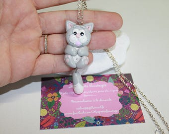 Gaspard cat polymer clay pendant