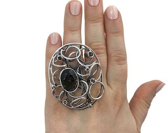Handmade Silver Ring with Smoky Quartz