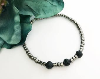 Grey Minimalist Essential Oil Diffuser Bracelet With Lava Beads Simple Stretchy Gray