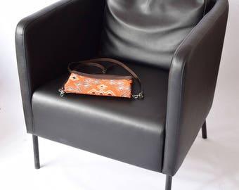 Clutch Bag-028 Handbag Vintage Kilim Rug Genuine Leather Bohemian Bag Boho Bag Hippie Bag