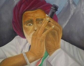 Old Man Smoking Chillum