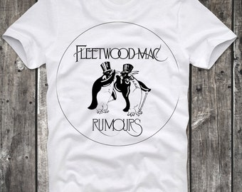 T-Shirt Fleetwood Mac Penguin Logo Rumors White Distressed Retro Vintage 80s cult