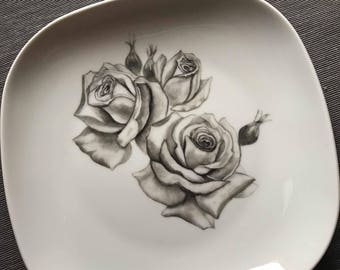 Hand painted porcelain plate with black roses