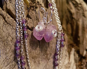 Amethyst earring and necklace set