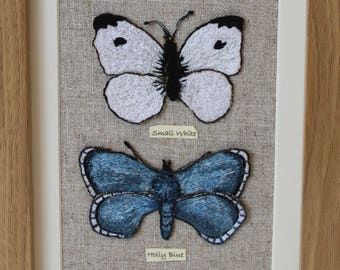 Two Embroidered Butterflies - In a Frame