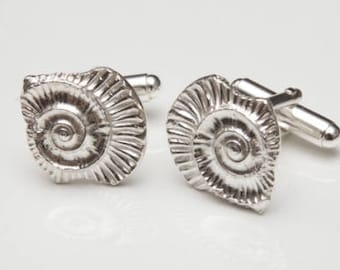 Ammonite Impression Cufflinks in Sterling Silver