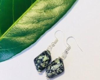 Czech Glass Marble Effect Dangle Earrings