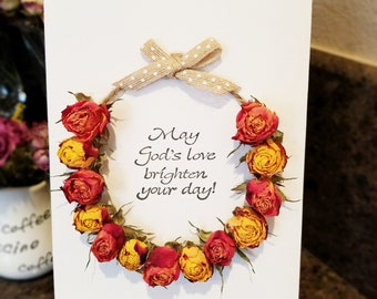 """Dried Flowers Canvas """"Wreath"""" (rose version)"""