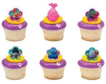 Trolls Cupcake Toppers - 12 - Cupcake Topper Rings, Trolls Cake Toppers, Trolls Birthday Party Cupcake Toppers, Trolls Party, Trolls