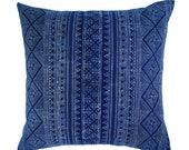 Thai Batik Hmong, Indigo, Cotton, Linen, Pillow Cover | 'Luna'