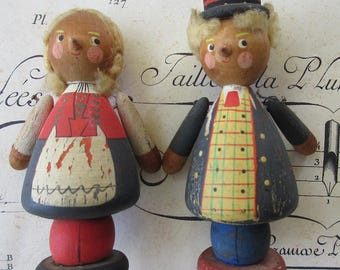 Vintage Germany Wooden People Wooden Country Man And Woman Folkloric Toys Ornaments Decorations
