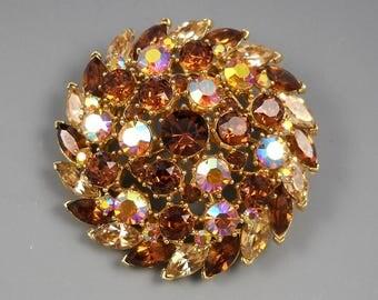 Crown Trifari Large Round AB Rhinestone Topaz Colored Crystals Vintage Brooch Pin