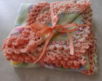 Fleece baby Blanket With Crochet edging